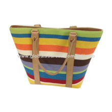 Fashion women's large beach bag with colorful stripe pattern, suitable for summer outing