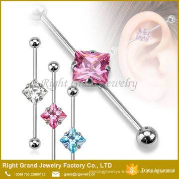Silver Pink Square CZ Gem 316L Surgical Steel Industrial Barbell Jewelry