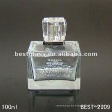 Botella de cristal del perfume de la marca del cuadrado 100ml con el rociador y la tapa