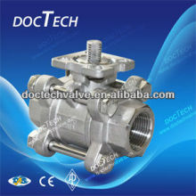 "DN80/ 3"" Screwed Stainless Steel CF8/CF8M 3-PC Ball Valve With High Mounting Pad 1000WOG , Handle"