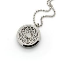 Diffuser necklace flower sliver pendant