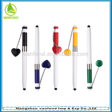 Novelty Heart Shape chain Touch Stylus Pen Office Stationery