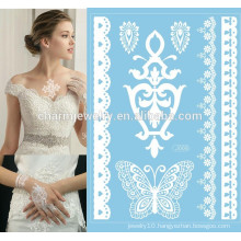 Charming And Elegant Black And White Colored Lace Design Water Transfer body Art stickers j008