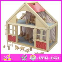 2014 nouveau jouet en bois de maison de poupée en bois, maison de poupée en bois de beaux enfants populaires, princesse en bois de maison de poupée de Beartiful W06A039