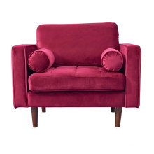 Home Furniture Wooden Legs Red One Seater Couch Velvet Living Room Nordic Settee Sofa