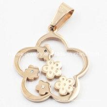 Imitação de aço inoxidável moda flor pingente de jóias