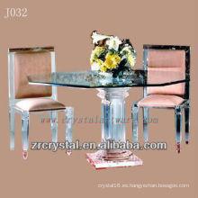Mesa y silla de cristal transparente K9