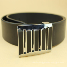 mens black fashion leather belt with flat buckle