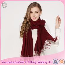 2017 nouveau design couleur unie épais grand foulard à pompon pour l'hiver
