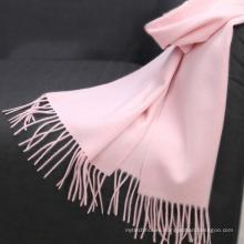 Texted Material Mongolia pasó prueba tasssel color rosa invierno básico mujeres cálido 100% bufanda chal de cachemira