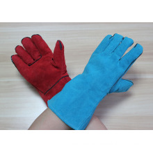 red 14 inches cow split leather welding working gloves