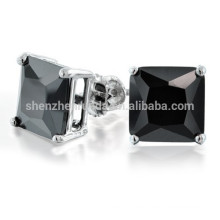 Princesa Negro CZ Stud Earrings Tornillo Volver Posts Fabricante