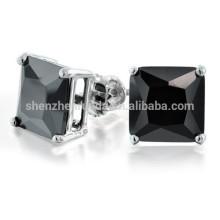 Princess Black CZ Stud Earrings Screw Back Posts Fabricant