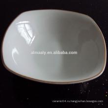 Белый фарфоровый квадратный суп чаша с золотой линией