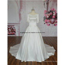 Pretty Satin Round Neck Back A Line Straps Wedding Dress