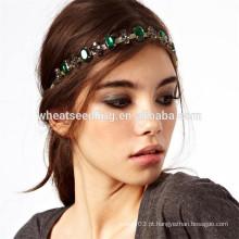 Brilho verde diamante rhinestone elástico headwear cabelo headband