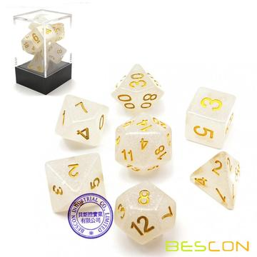 Bescon Intensive Glitter DND Dice 7pcs Set VEIL MIST, New Glitter Polyhedral Die set d4 d6 d8 d10 d12 d20 d%, Brick Box Package