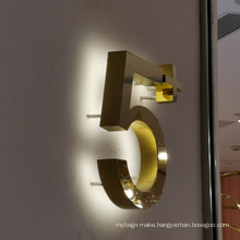 Stainless steel house number frame led metal light also advertising shop name metal sign