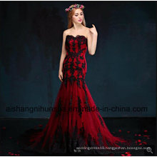 Mermaid Wine Black Lace Appliques Wedding Dress