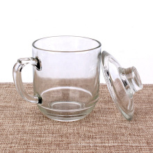 300ml handled glass tea saucers with glass lid and coaster
