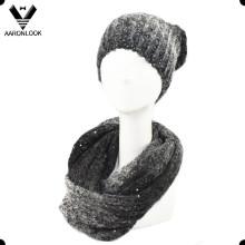 Tricot mélangé à la mode avec écharpe bouclé en bouche et Bonnet en hiver