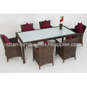 Pe Rattan Outdoor Dining Room Furniture Table And Chair 7pcs?