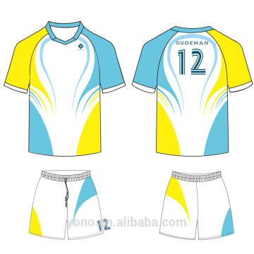 OEM \ ODM serviço 100% de alta qualidade novo estilo profissional de sublimação de futebol completo jersey para treinamento e jogo