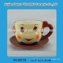 Taza de té del mono del mono de la venta caliente y sistema del platillo