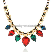 Charme Rainbow plaqué or Pierre femmes Drop collier de perles