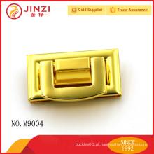 Brilhante ouro cor fashion metal lock saco