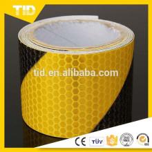 Cinta de advertencia de seguridad reflectante, negro amarillo, lado derecho, panal de miel