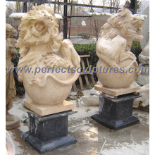 Garden Stone Granite Marble Lion Sculpture pour statue animale (SY-D065)