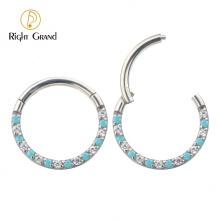 Bezel Set Cubic Zircon Hinged Surgical Steel Nose Piercing Ring body piercing
