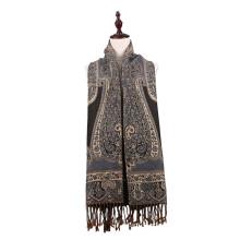 Lenço Longo Mulheres Elegantes Jacquard Pashmina para Inverno
