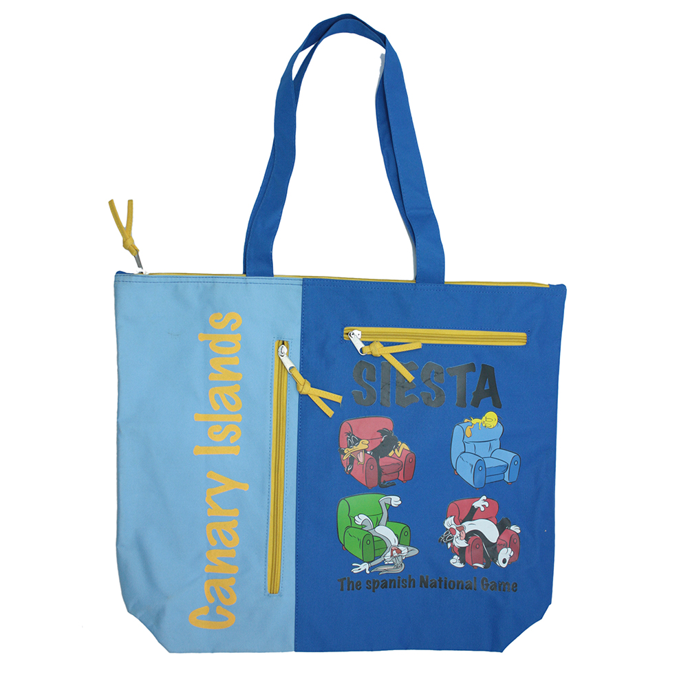 Custom Printing Polyester Zipper Tote Bag for Beach