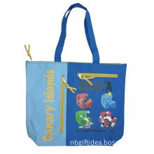 Custom Printing Polyester Zipper Tote Bag for Beach