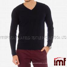 Черный V-образным вырезом кашемир смесь Мужская свитер