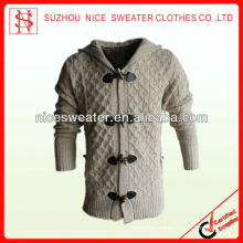 Mens hooded sweaters wool cardigan cables hooded sweater coat