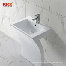 Pedestal acrylic rectangular stand public bathroom wash basin sink