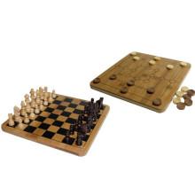 Jogo de xadrez ao ar livre chinês de bambu + nove homens Morris + jogos de tabuleiro de xadrez ajustados