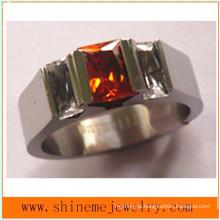 Shineme joyas de corte de alambre de moda de piedra roja titanio anillos (tr1831)