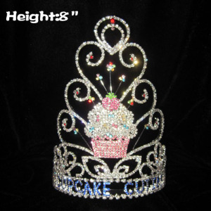 8in Height Crystal Cupcake Pageant Crowns