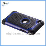 Dark Blue Rugged Rubber Hybrid Case For iTouch 4