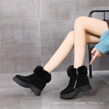 Mama warm women winter snow boot cow suede  fur collar  thick chunky sole women's boot