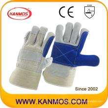 Anti-Scratch azul mano industrial de seguridad de cuero de vaca guantes de trabajo de cuero (110161)