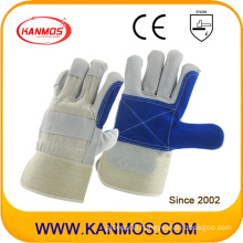 Anti-Scratch Blue Industrial Hand Safety Cowhide Leather Work Gloves (110161)