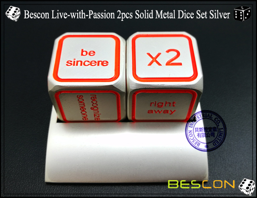 Bescon Live-with-Passion 2pcs Solid Metal Dice Set Silver-5