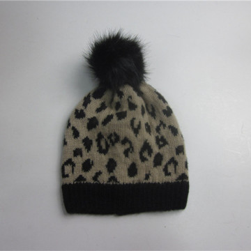 Leopard Jacquard Winter Hat With Pompom