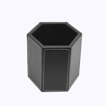 Black Leather Hexagonal Pen Holder