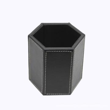 Black Leather Hexagonal Pen Holder